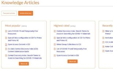 CDI knowledge articles