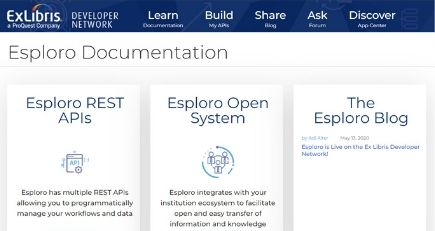Esploro is Live on the Ex Libris Developer Network image