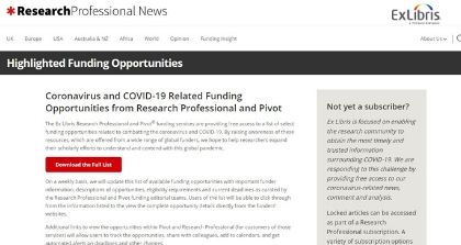Ex Libris Provides Free Access to Coronavirus–Related Research Funding and News